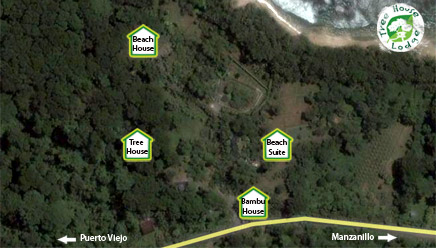 Google map for the Costa Rica Tree House Lodge