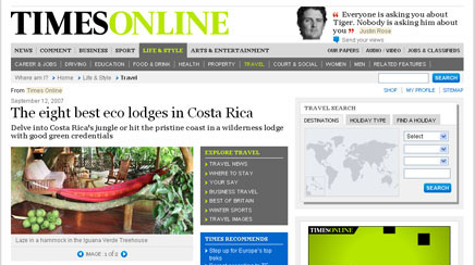 Costa Rica Tree House Lodge Puerto Viejo Beach Hotel: press report, times online
