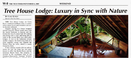 Costa Rica Tree House Lodge Puerto Viejo Beach Hotel: press report, tree house lodge, in sync with nature